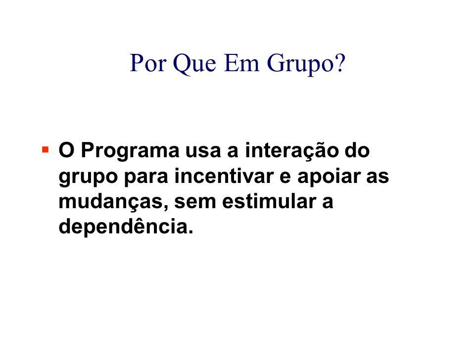 Por Que Em Grupo?  O Programa usa a interação do grupo para incentivar e apoiar as mudanças, sem estimular a dependência.