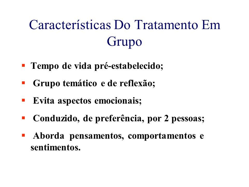 Características Do Tratamento Em Grupo  Tempo de vida pré-estabelecido;  Grupo temático e de reflexão;  Evita aspectos emocionais;  Conduzido, de preferência, por 2 pessoas;  Aborda pensamentos, comportamentos e sentimentos.