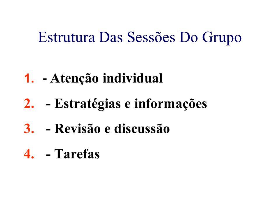 Estrutura Das Sessões Do Grupo 1.- Atenção individual 2. - Estratégias e informações 3. - Revisão e discussão 4. - Tarefas