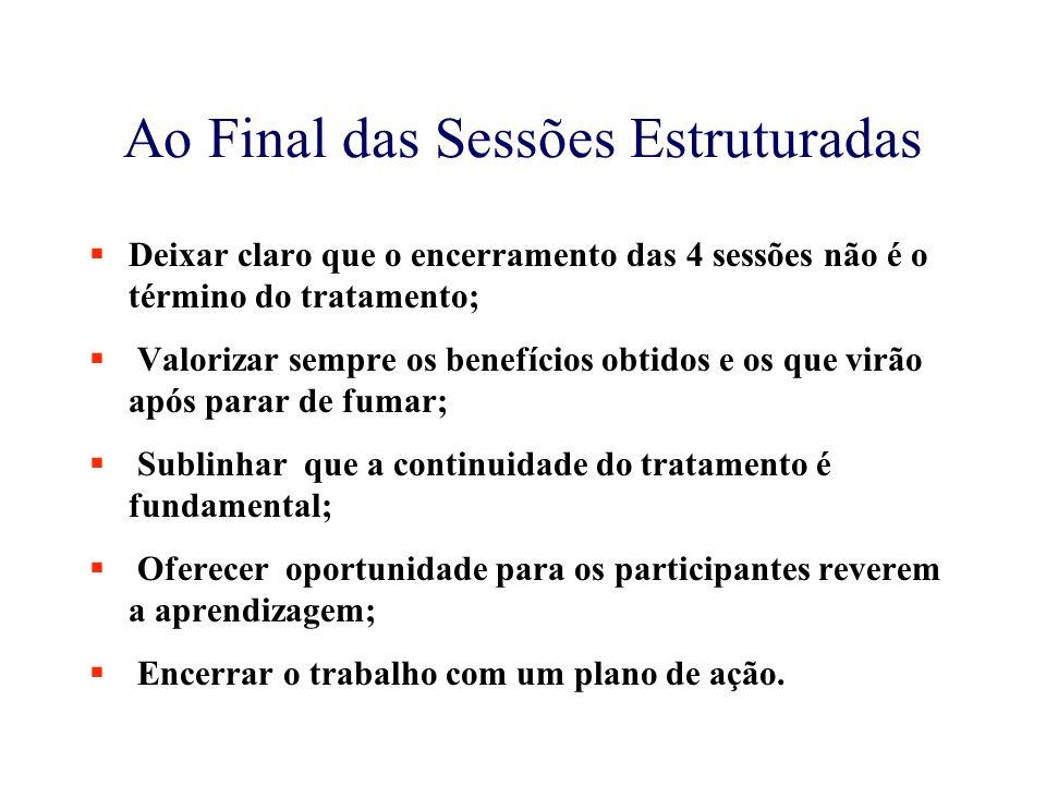 Ao Final das Sessões Estruturadas  Deixar claro que o encerramento das 4 sessões não é o término do tratamento;  Valorizar sempre os benefícios obti