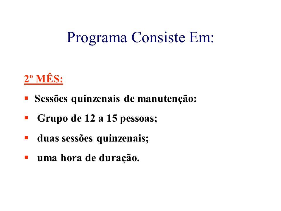 Programa Consiste Em: 2º MÊS:  Sessões quinzenais de manutenção:  Grupo de 12 a 15 pessoas;  duas sessões quinzenais;  uma hora de duração.