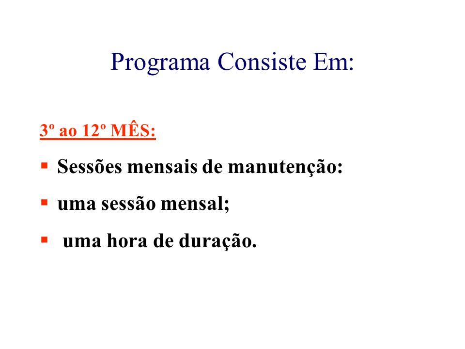 Programa Consiste Em: 3º ao 12º MÊS:  Sessões mensais de manutenção:  uma sessão mensal;  uma hora de duração.