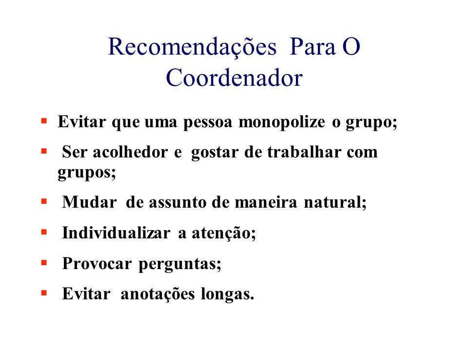 Recomendações Para O Coordenador  Evitar que uma pessoa monopolize o grupo;  Ser acolhedor e gostar de trabalhar com grupos;  Mudar de assunto de m