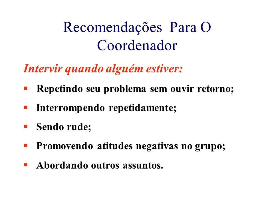 Recomendações Para O Coordenador Intervir quando alguém estiver:  Repetindo seu problema sem ouvir retorno;  Interrompendo repetidamente;  Sendo ru