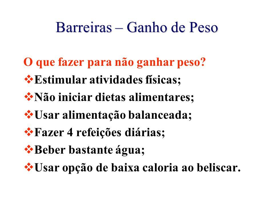 Barreiras – Ganho de Peso O que fazer para não ganhar peso?  Estimular atividades físicas;  Não iniciar dietas alimentares;  Usar alimentação balan