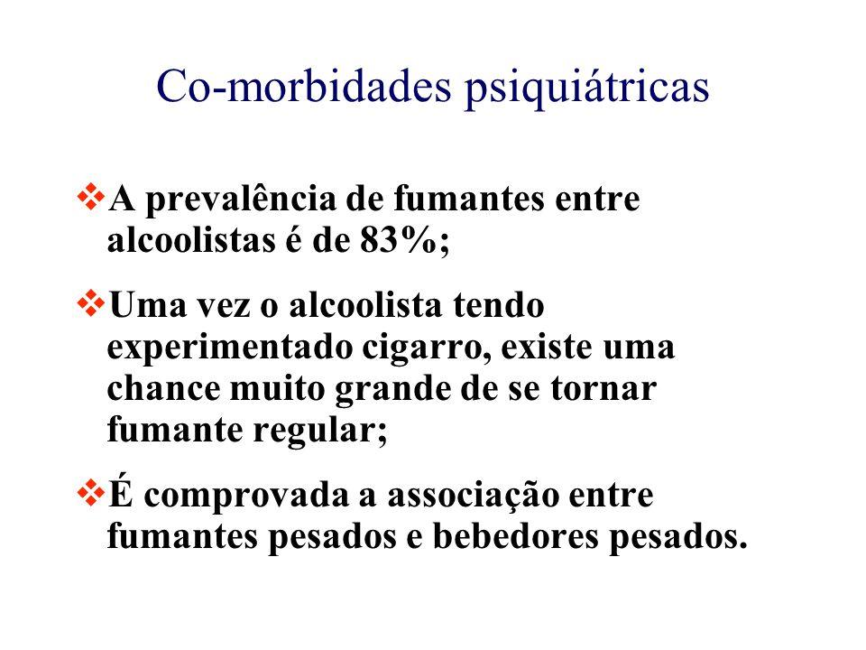 Co-morbidades psiquiátricas  A prevalência de fumantes entre alcoolistas é de 83%;  Uma vez o alcoolista tendo experimentado cigarro, existe uma chance muito grande de se tornar fumante regular;  É comprovada a associação entre fumantes pesados e bebedores pesados.