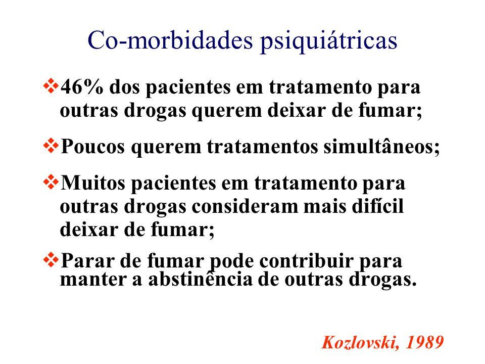Co-morbidades psiquiátricas  46% dos pacientes em tratamento para outras drogas querem deixar de fumar;  Poucos querem tratamentos simultâneos;  Muitos pacientes em tratamento para outras drogas consideram mais difícil deixar de fumar;  Parar de fumar pode contribuir para manter a abstinência de outras drogas.