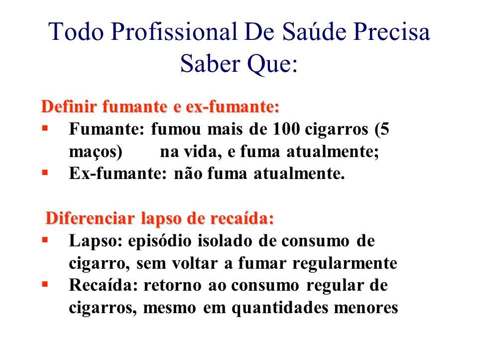 Todo Profissional De Saúde Precisa Saber Que: Definir fumante e ex-fumante:  Fumante: fumou mais de 100 cigarros (5 maços) na vida, e fuma atualmente;  Ex-fumante: não fuma atualmente.