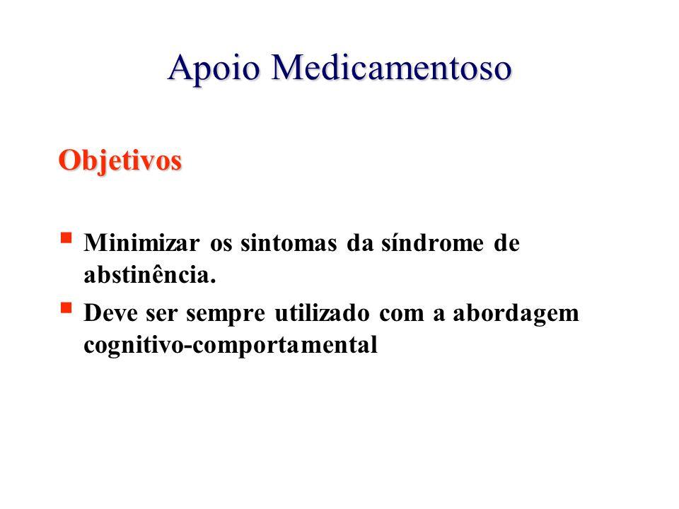 Apoio Medicamentoso Objetivos  Minimizar os sintomas da síndrome de abstinência.  Deve ser sempre utilizado com a abordagem cognitivo-comportamental