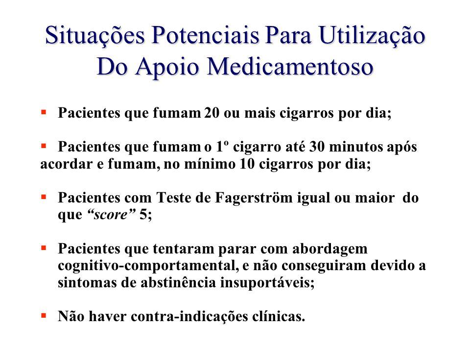 Situações Potenciais Para Utilização Do Apoio Medicamentoso  Pacientes que fumam 20 ou mais cigarros por dia;  Pacientes que fumam o 1º cigarro até 30 minutos após acordar e fumam, no mínimo 10 cigarros por dia;  Pacientes com Teste de Fagerström igual ou maior do que score 5;  Pacientes que tentaram parar com abordagem cognitivo-comportamental, e não conseguiram devido a sintomas de abstinência insuportáveis;  Não haver contra-indicações clínicas.