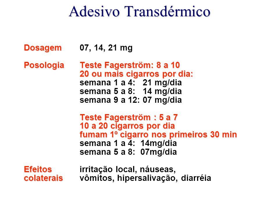 Adesivo Transdérmico Dosagem Dosagem 07, 14, 21 mg Posologia Teste Fagerström: 8 a 10 20 ou mais cigarros por dia: 20 ou mais cigarros por dia: : sema