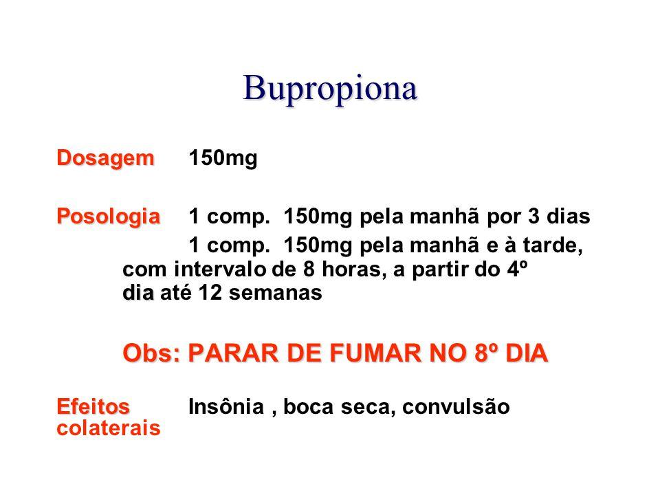 Bupropiona Dosagem Dosagem 150mg Posologia Posologia 1 comp. 150mg pela manhã por 3 dias dia 1 comp. 150mg pela manhã e à tarde, com intervalo de 8 ho