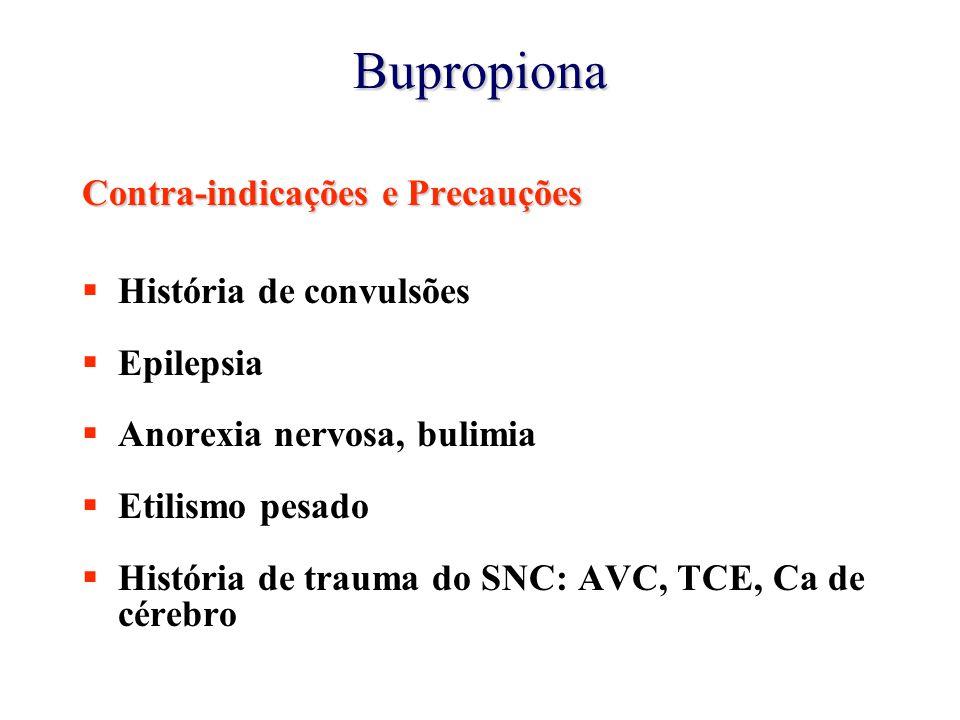 Bupropiona Contra-indicações e Precauções  História de convulsões  Epilepsia  Anorexia nervosa, bulimia  Etilismo pesado  História de trauma do SNC: AVC, TCE, Ca de cérebro