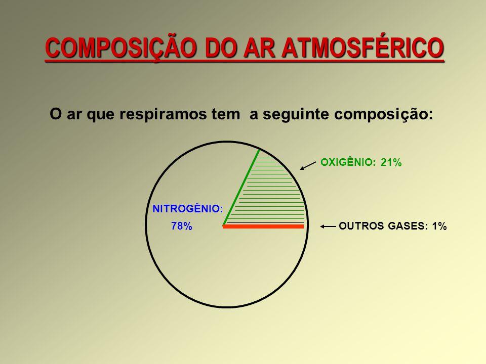 COMPOSIÇÃO DO AR ATMOSFÉRICO O ar que respiramos tem a seguinte composição: OXIGÊNIO: 21% NITROGÊNIO: 78% OUTROS GASES: 1%