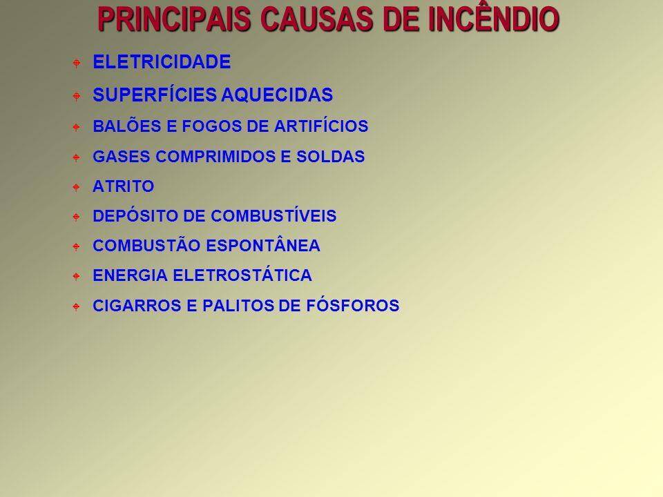 PRINCIPAIS CAUSAS DE INCÊNDIO W ELETRICIDADE W SUPERFÍCIES AQUECIDAS W BALÕES E FOGOS DE ARTIFÍCIOS W GASES COMPRIMIDOS E SOLDAS W ATRITO W DEPÓSITO DE COMBUSTÍVEIS W COMBUSTÃO ESPONTÂNEA W ENERGIA ELETROSTÁTICA W CIGARROS E PALITOS DE FÓSFOROS