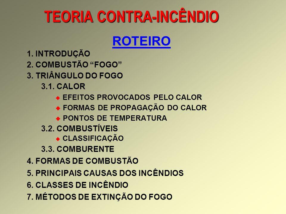 TEORIA CONTRA-INCÊNDIO ROTEIRO 1.INTRODUÇÃO 2. COMBUSTÃO FOGO 3.