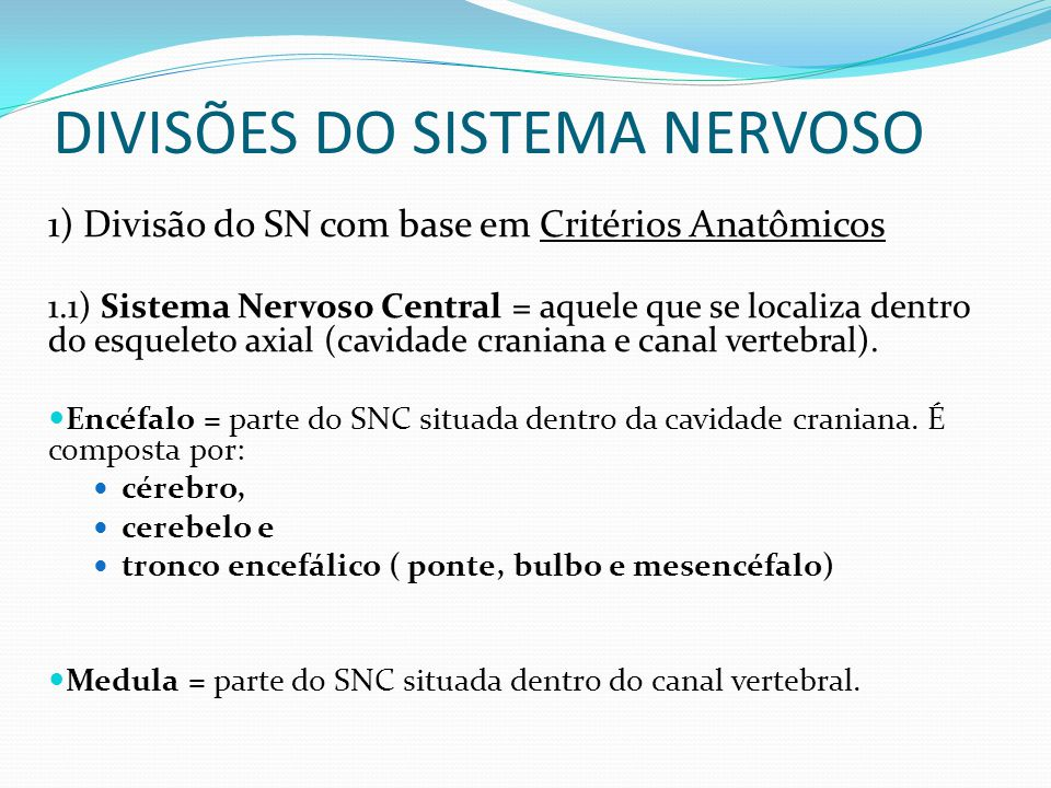 DIVISÕES DO SISTEMA NERVOSO 1) Divisão do SN com base em Critérios Anatômicos 1.1) Sistema Nervoso Central = aquele que se localiza dentro do esqueleto axial (cavidade craniana e canal vertebral).