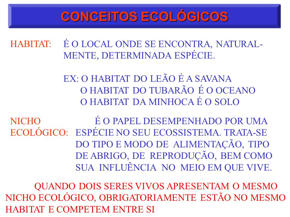CONCEITOS ECOLÓGICOS HABITAT: É O LOCAL ONDE SE ENCONTRA, NATURAL- MENTE, DETERMINADA ESPÉCIE. EX: O HABITAT DO LEÃO É A SAVANA O HABITAT DO TUBARÃO É