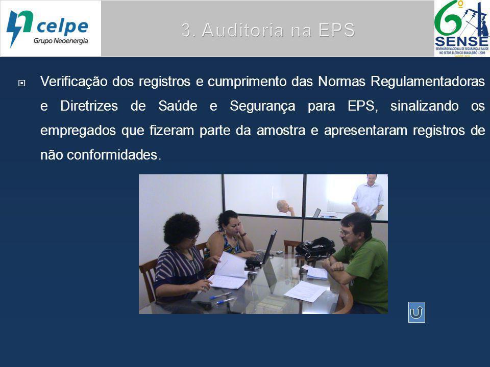  Verificação dos registros e cumprimento das Normas Regulamentadoras e Diretrizes de Saúde e Segurança para EPS, sinalizando os empregados que fizeram parte da amostra e apresentaram registros de não conformidades.