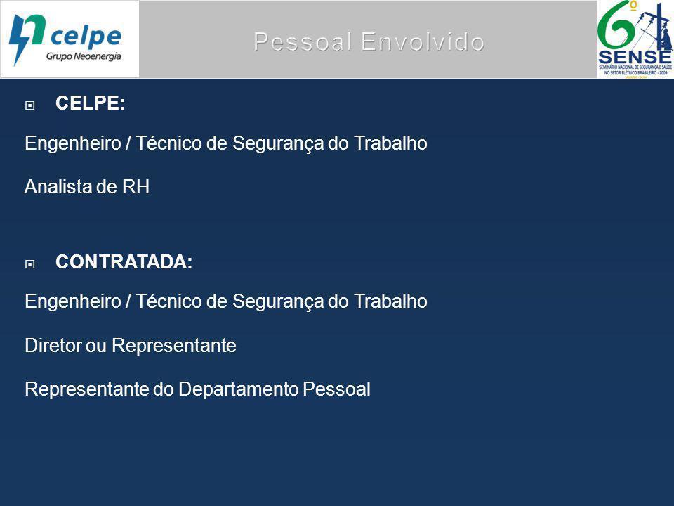  CELPE: Engenheiro / Técnico de Segurança do Trabalho Analista de RH  CONTRATADA: Engenheiro / Técnico de Segurança do Trabalho Diretor ou Representante Representante do Departamento Pessoal