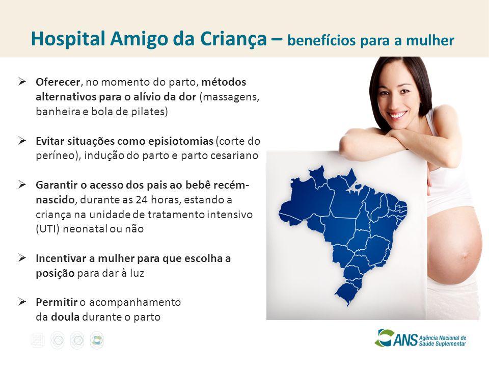 Hospital Amigo da Criança – benefícios para a mulher  Oferecer, no momento do parto, métodos alternativos para o alívio da dor (massagens, banheira e