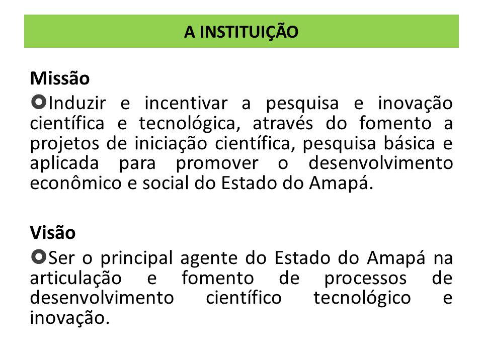 A INSTITUIÇÃO Missão  Induzir e incentivar a pesquisa e inovação científica e tecnológica, através do fomento a projetos de iniciação científica, pesquisa básica e aplicada para promover o desenvolvimento econômico e social do Estado do Amapá.