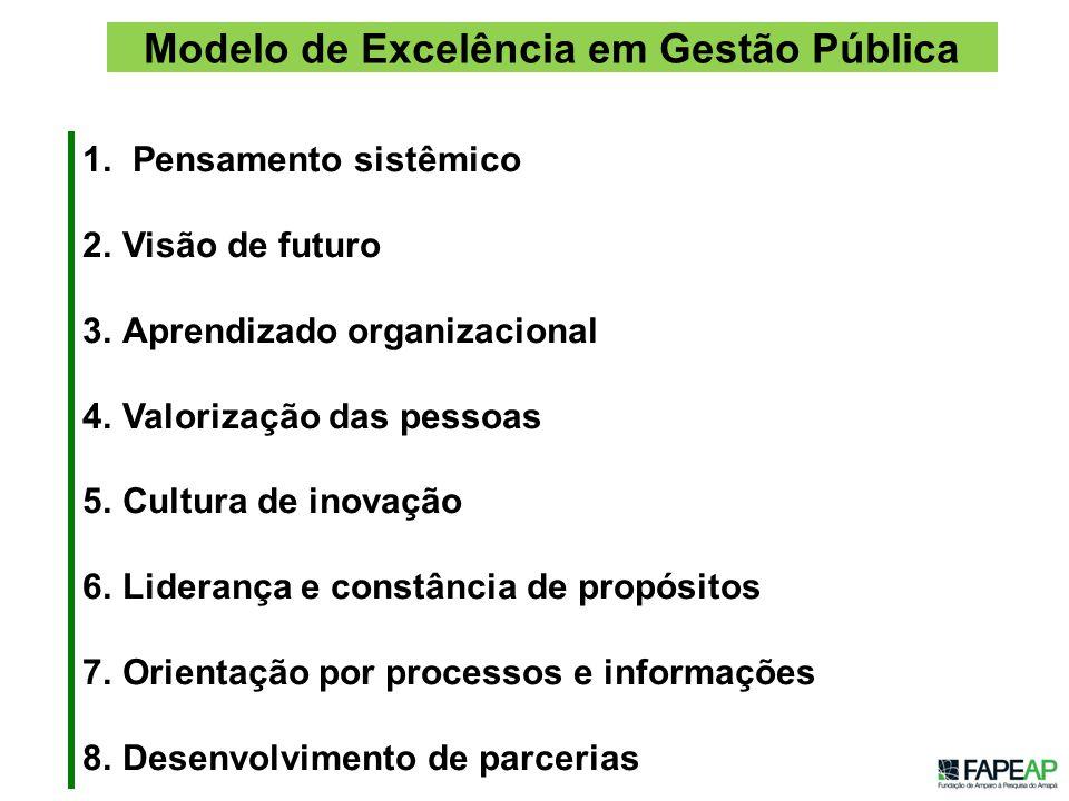 1. Pensamento sistêmico 2.Visão de futuro 3.Aprendizado organizacional 4.Valorização das pessoas 5.Cultura de inovação 6.Liderança e constância de pro