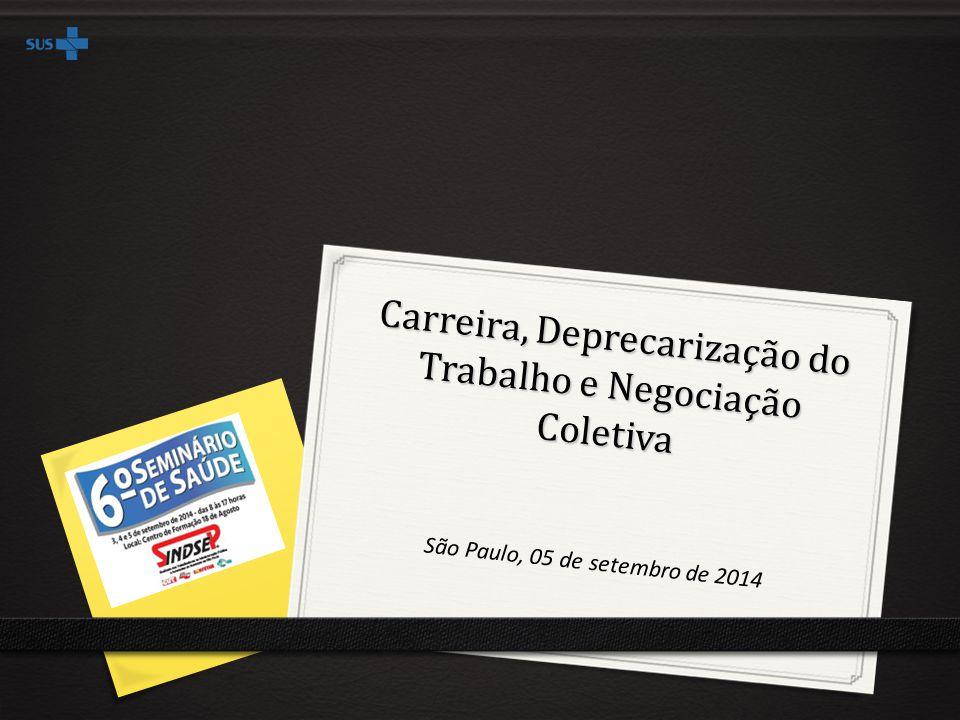 Carreira, Deprecarização do Trabalho e Negociação Coletiva São Paulo, 05 de setembro de 2014