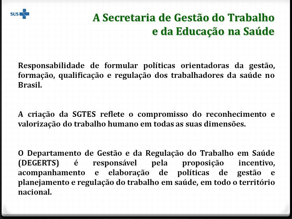 A Secretaria de Gestão do Trabalho e da Educação na Saúde Responsabilidade de formular políticas orientadoras da gestão, formação, qualificação e regulação dos trabalhadores da saúde no Brasil.