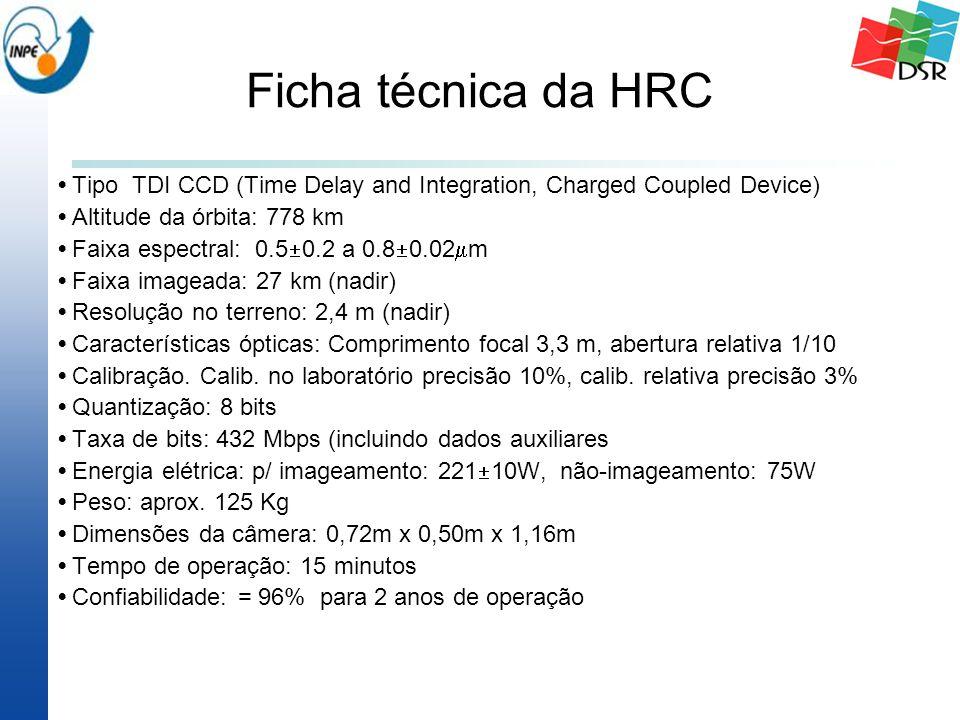 Ficha técnica da HRC Tipo TDI CCD (Time Delay and Integration, Charged Coupled Device) Altitude da órbita: 778 km Faixa espectral: 0.5  0.2 a 0.8  0.02  m Faixa imageada: 27 km (nadir) Resolução no terreno: 2,4 m (nadir) Características ópticas: Comprimento focal 3,3 m, abertura relativa 1/10 Calibração.