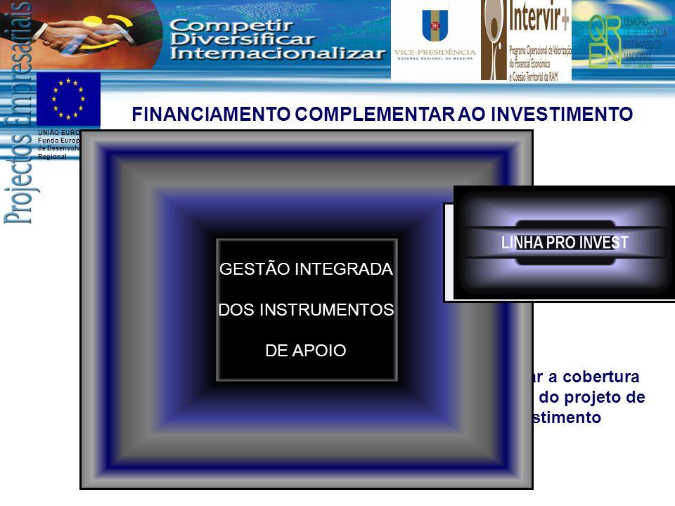 UNIÃO EUROPEIA Fundo Europeu de Desenvolvimento Regional SISTEMAS DE INCENTIVOS AO INVESTIMENTO Emissão de garantias para efeitos de pedidos de pagamento Financiamento Bancário – Linha de crédito Viabilizar os pedidos de pagamento Assegurar a cobertura financeira do projeto de investimento FINANCIAMENTO COMPLEMENTAR AO INVESTIMENTO ALAVANCAR PROJETOS DE INVESTIMENTO GESTÃO INTEGRADA DOS INSTRUMENTOS DE APOIO