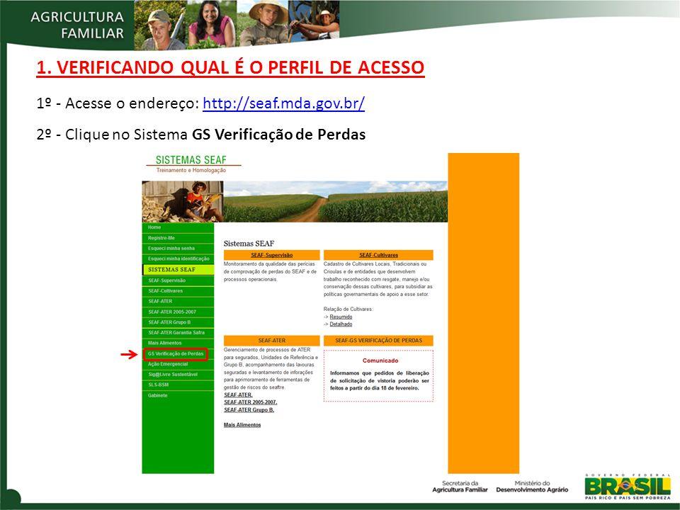 1. VERIFICANDO QUAL É O PERFIL DE ACESSO 2 1º - Acesse o endereço: http://seaf.mda.gov.br/http://seaf.mda.gov.br/ 2º - Clique no Sistema GS Verificaçã