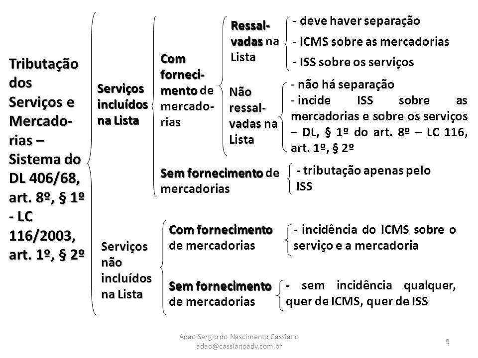 Adao Sergio do Nascimento Cassiano adao@cassianoadv.com.br 9 Tributação dos Serviços e Mercado- rias – Sistema do DL 406/68, art. 8º, § 1º - LC 116/20