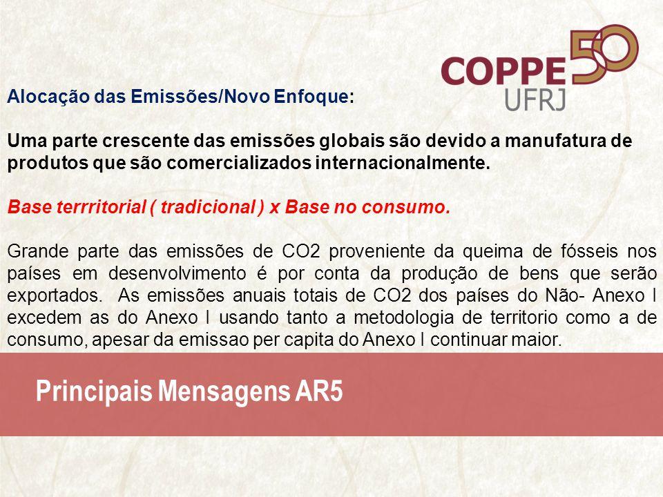 Principais Mensagens AR5 Alocação das Emissões/Novo Enfoque: Uma parte crescente das emissões globais são devido a manufatura de produtos que são comercializados internacionalmente.