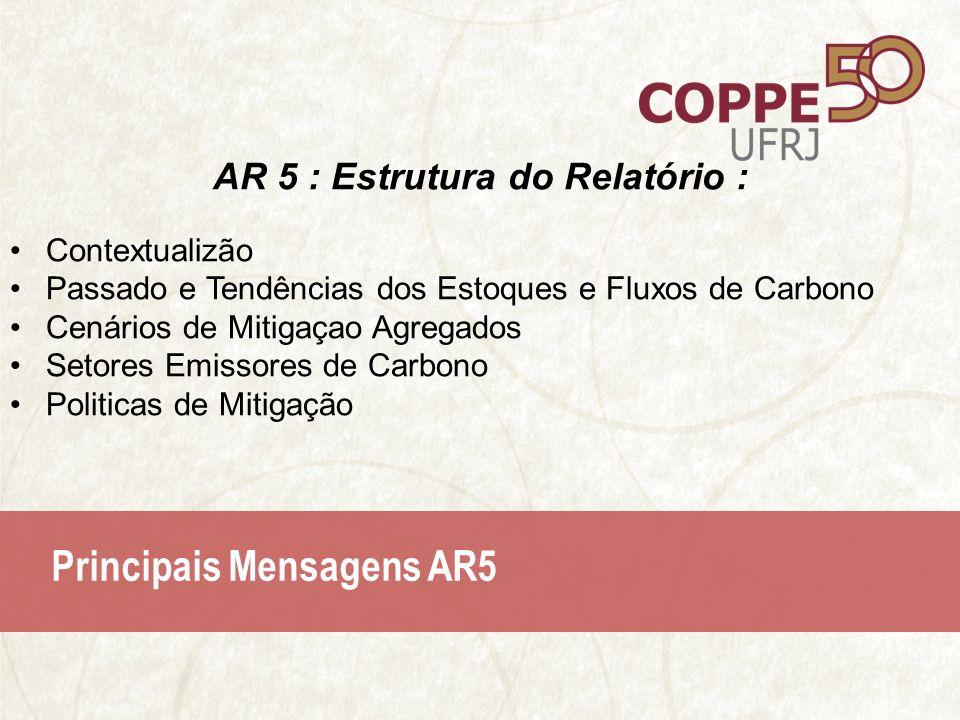 Principais Mensagens AR5 AR 5 : Estrutura do Relatório : Contextualizão Passado e Tendências dos Estoques e Fluxos de Carbono Cenários de Mitigaçao Agregados Setores Emissores de Carbono Politicas de Mitigação