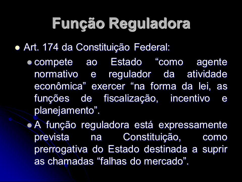 """Função Reguladora Art. 174 da Constituição Federal: Art. 174 da Constituição Federal: compete ao Estado """"como agente normativo e regulador da atividad"""
