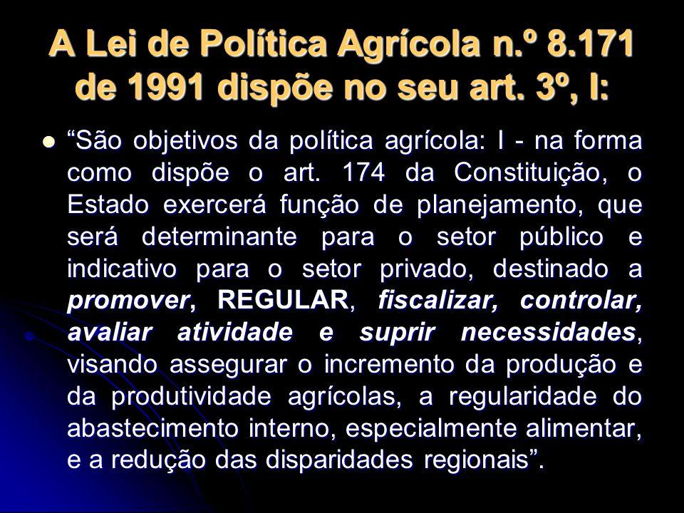 """A Lei de Política Agrícola n.º 8.171 de 1991 dispõe no seu art. 3º, I: """"São objetivos da política agrícola: I - na forma como dispõe o art. 174 da Con"""