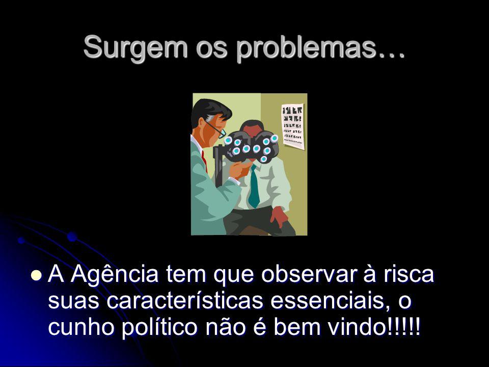 Surgem os problemas… A Agência tem que observar à risca suas características essenciais, o cunho político não é bem vindo!!!!! A Agência tem que obser