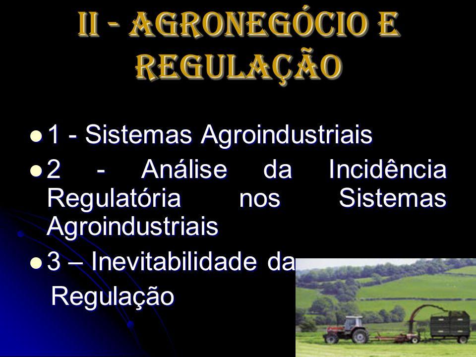 II - Agronegócio e Regulação 1 - Sistemas Agroindustriais 1 - Sistemas Agroindustriais 2 - Análise da Incidência Regulatória nos Sistemas Agroindustri