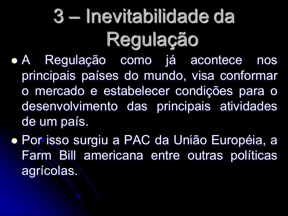3 – Inevitabilidade da Regulação A Regulação como já acontece nos principais países do mundo, visa conformar o mercado e estabelecer condições para o