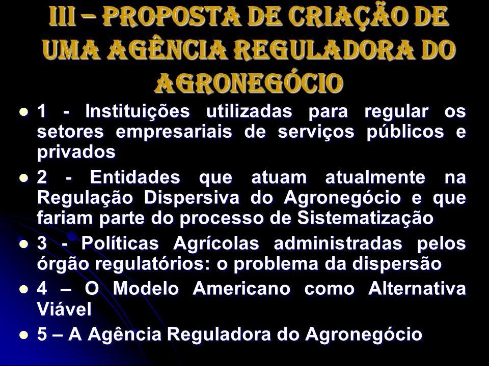 III – Proposta de Criação de uma Agência Reguladora do Agronegócio 1 - Instituições utilizadas para regular os setores empresariais de serviços públic