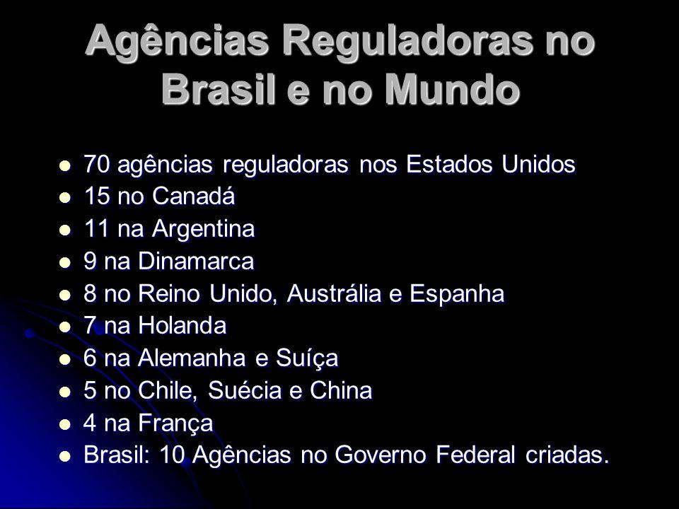Agências Reguladoras no Brasil e no Mundo 70 agências reguladoras nos Estados Unidos 70 agências reguladoras nos Estados Unidos 15 no Canadá 15 no Can