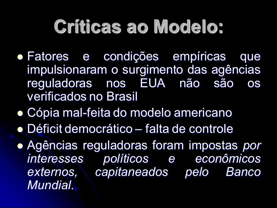 Críticas ao Modelo: Fatores e condições empíricas que impulsionaram o surgimento das agências reguladoras nos EUA não são os verificados no Brasil Fat