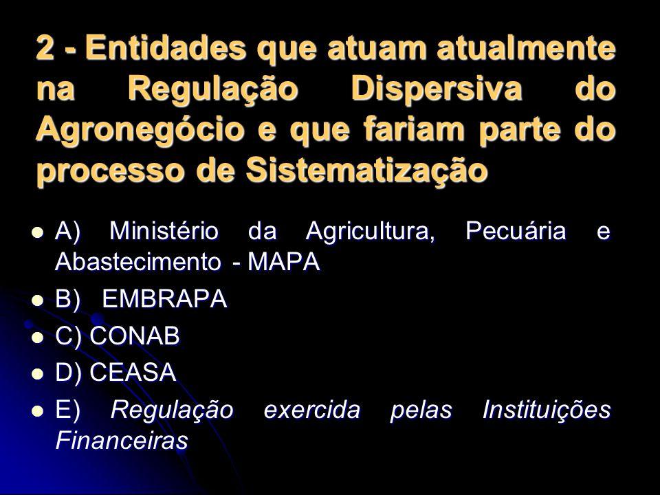 2 - Entidades que atuam atualmente na Regulação Dispersiva do Agronegócio e que fariam parte do processo de Sistematização A) Ministério da Agricultur