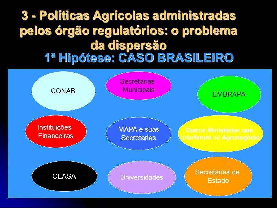 3 - Políticas Agrícolas administradas pelos órgão regulatórios: o problema da dispersão 1ª Hipótese: CASO BRASILEIRO CONAB Instituições Financeiras MA