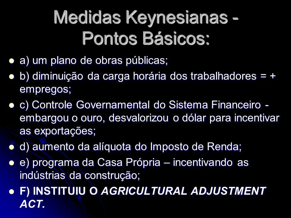 Medidas Keynesianas - Pontos Básicos: a) um plano de obras públicas; a) um plano de obras públicas; b) diminuição da carga horária dos trabalhadores =