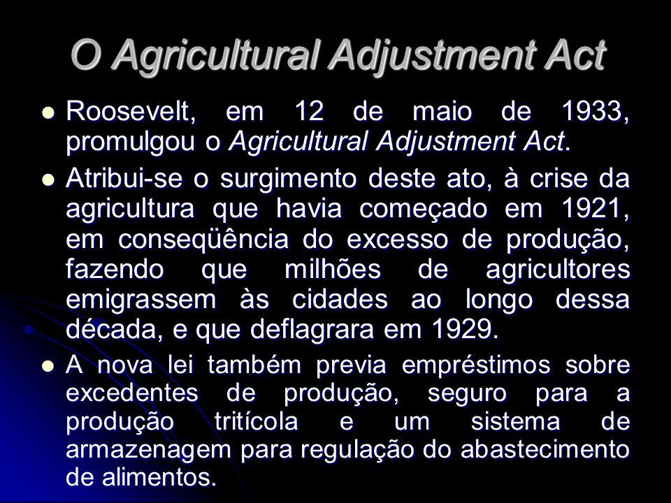 O Agricultural Adjustment Act Roosevelt, em 12 de maio de 1933, promulgou o Agricultural Adjustment Act. Roosevelt, em 12 de maio de 1933, promulgou o