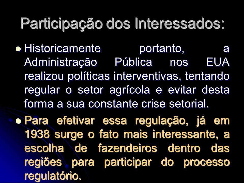 Participação dos Interessados: Historicamente portanto, a Administração Pública nos EUA realizou políticas interventivas, tentando regular o setor agr