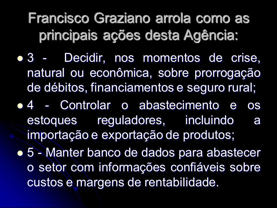 Francisco Graziano arrola como as principais ações desta Agência: 3 - Decidir, nos momentos de crise, natural ou econômica, sobre prorrogação de débit