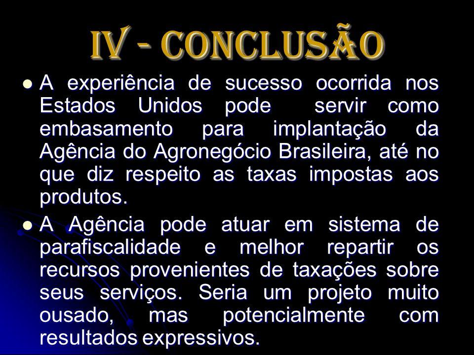 IV - Conclusão A experiência de sucesso ocorrida nos Estados Unidos pode servir como embasamento para implantação da Agência do Agronegócio Brasileira
